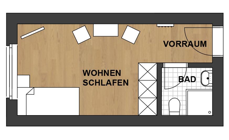 Schwanner Wirt - Skizze des Ferienzimmers (Einzelzimmer)