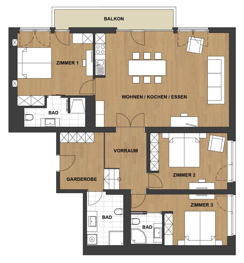 Schwanner Wirt - Skizze des Karwendel Appartements