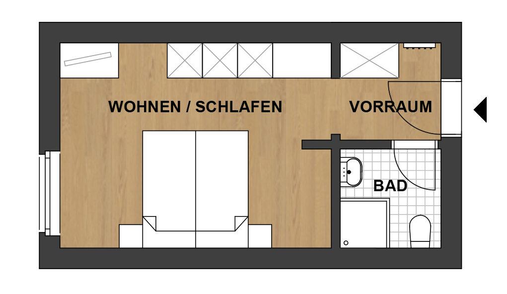 Schwanner Wirt - Skizze von Ferienzimmer ohne Balkon